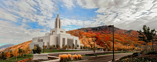 Temples Photograph - Fall Draper Temple by La Rae  Roberts