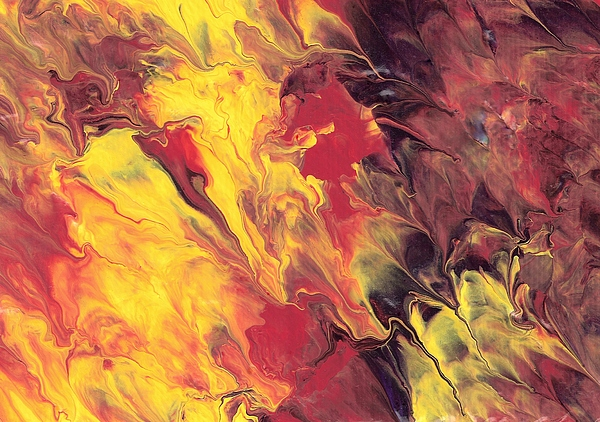 Red Painting - Fall Fire by Linda Stevenson