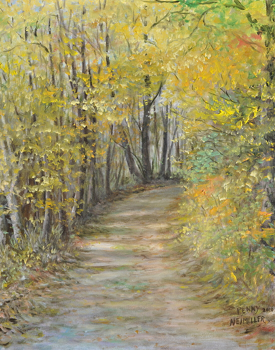 Autumn Trees Painting Painting - Fall Lane by Penny Neimiller