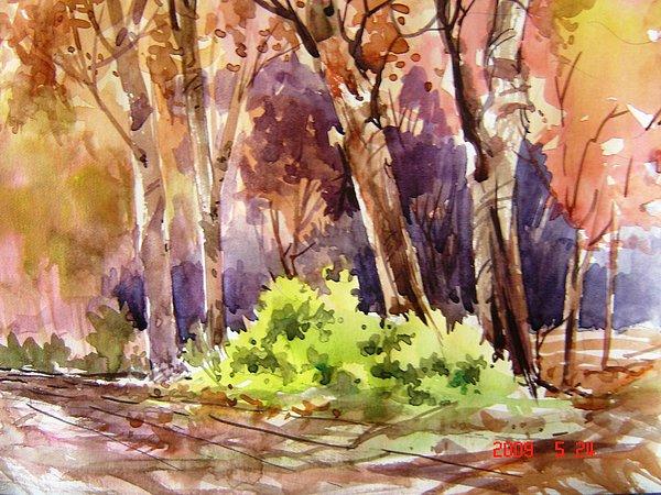 Watercolor Painting - Fall On Green Bush by Prafulla Shukla