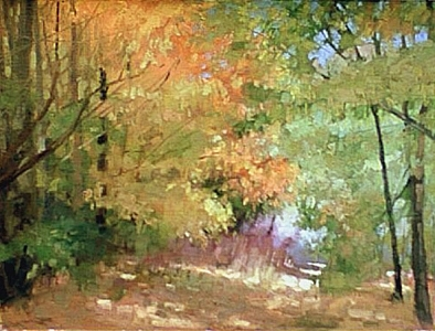 Fall Woods Painting by Chuck Marshall