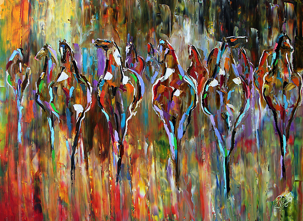 Abstract Horse Paintings Painting - Falling Into Winter Herd by Laurie Pace