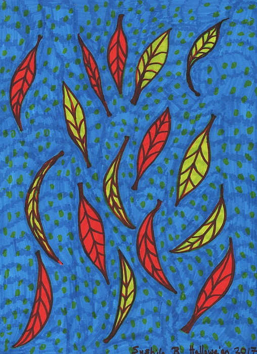 Leaves Drawing - Falling Leaves by Sushila Burgess