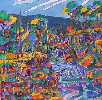 Landscape Painting - Falls That Flow by Jacqueline Biggs