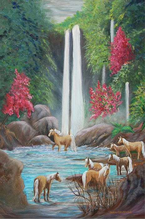 Waterfall Painting - Family Bath by Janna Columbus
