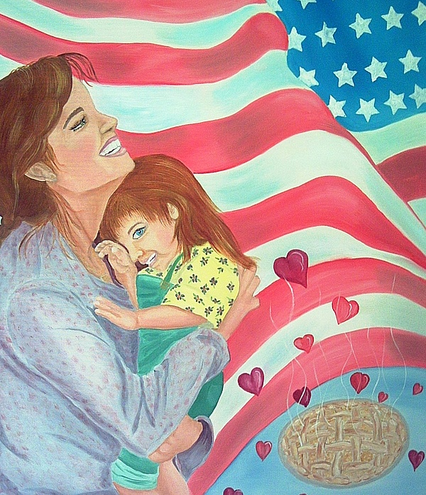 Flag Painting - Family Country And Apple Pie by Kathern Welsh