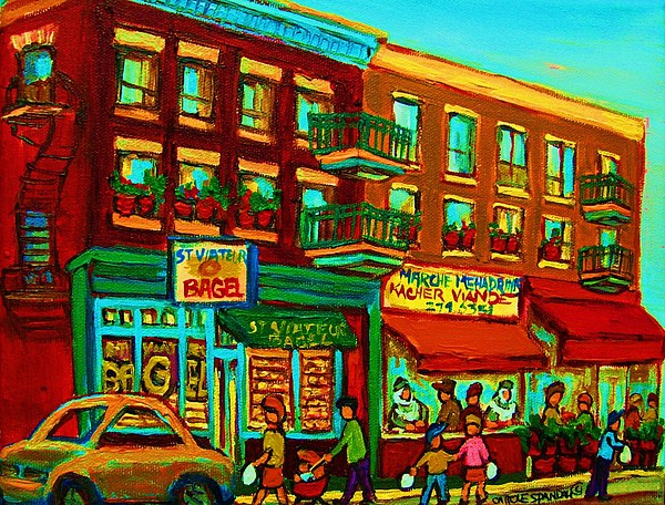 Montreal Painting - Family Frolic On St.viateur Street by Carole Spandau