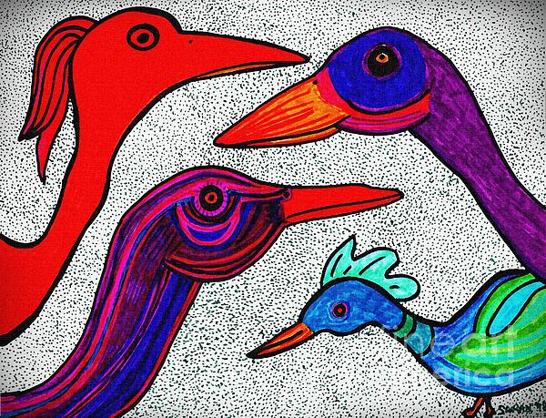 Bird Drawing - Family Portrait by Sarah Loft