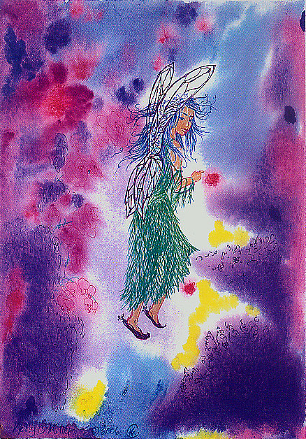 Abstract Painting - Fanciful Faerie by Kelly Miller