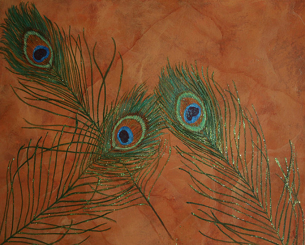 Marble Painting - Fancy Feathers by Sandra Poirier