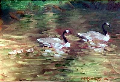 Ducks Painting - Fanily Of Five by Chuck Percherke