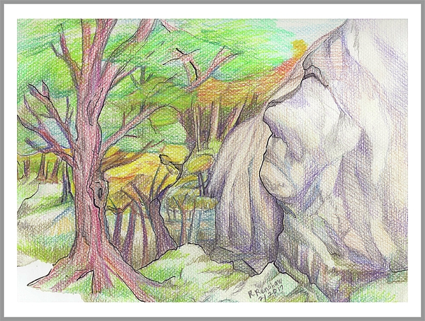 Colored Pencil Drawing - Fantasy Forest Rock by Ruth Renshaw
