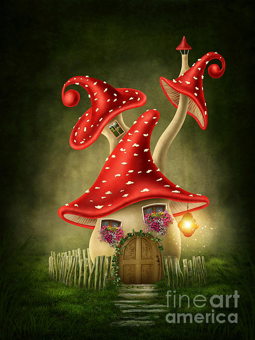 Red House Drawing: Fantasy Mushroom House Digital Art By Elena Schweitzer