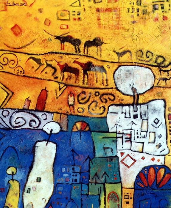 Abstract Mixed Media - Farmers  by Islam Kamil