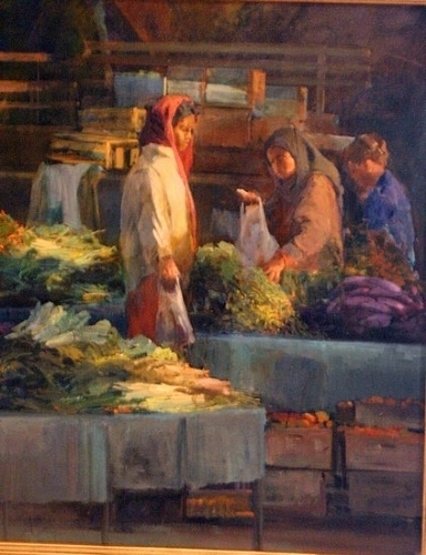 Farmers Market Painting by Gil Dellinger