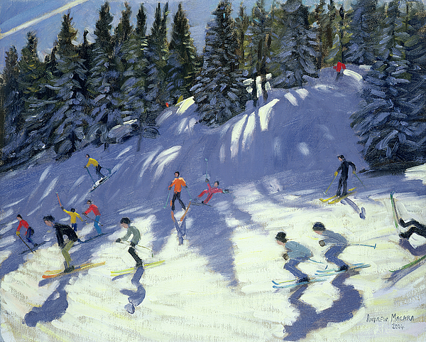 Skiers Painting - Fast Run by Andrew Macara