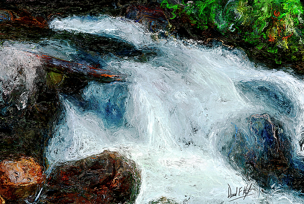 Water Fall Painting - Fast Water by David Kyte