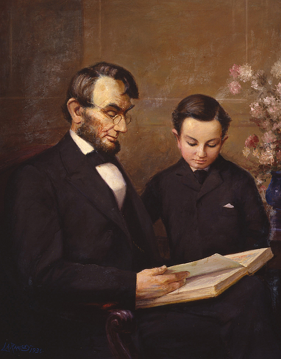Abraham Lincoln Painting - Father And Son by Lewis A Ramsey