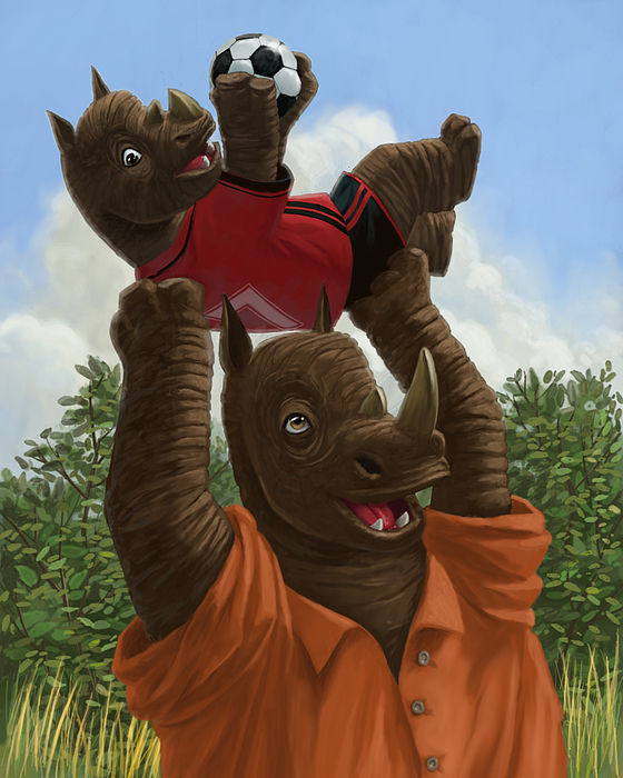 Family Painting - father Rhino with son by Martin Davey