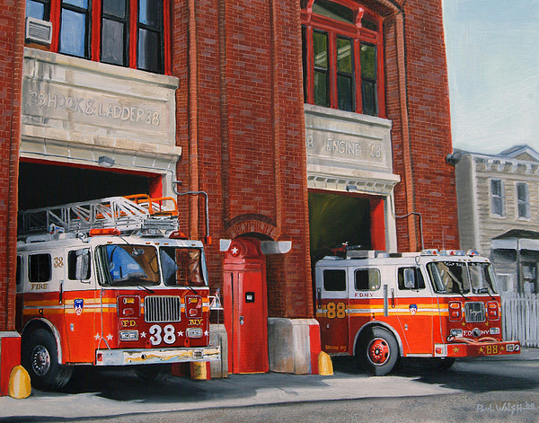 Fire House Painting - Fdny Engine 88 And Ladder 38 by Paul Walsh