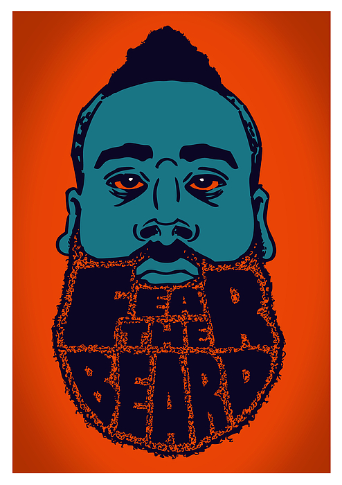 James Harden Digital Art - Fear The Beard by Jack Perkins
