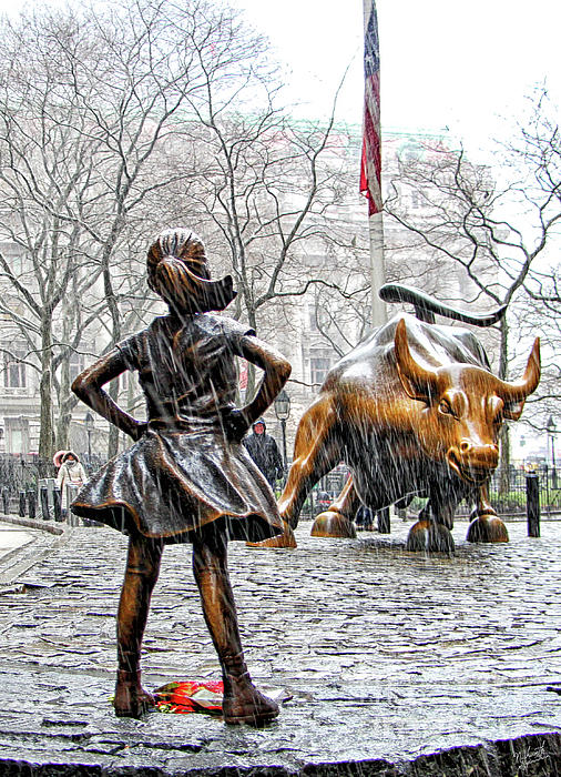 Wall Street Bull Art fearless girl and wall street bull statues 4 photograph