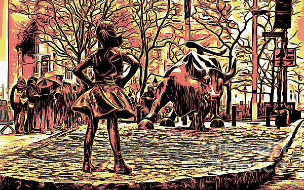 Wall Street Bull Art fearless girl and wall street bull statues 7 monochrome photograph