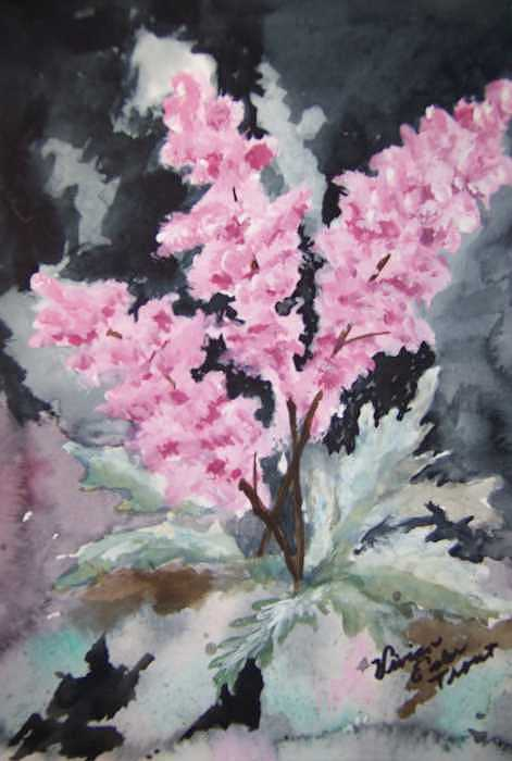 Feathery Astilbe Painting by Vivian Esler Trout