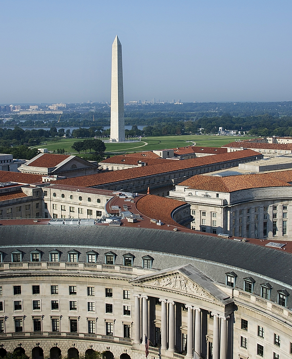 Washington Monument Photograph - Federal Buildings - The Washington Monument And The National Mall - Washington Dc by Brendan Reals