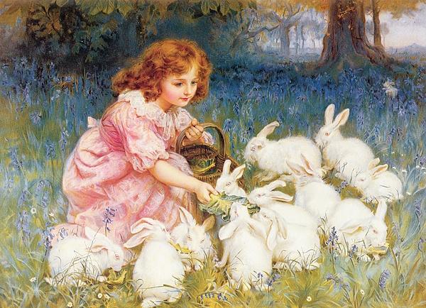 Feeding Painting - Feeding The Rabbits by Frederick Morgan