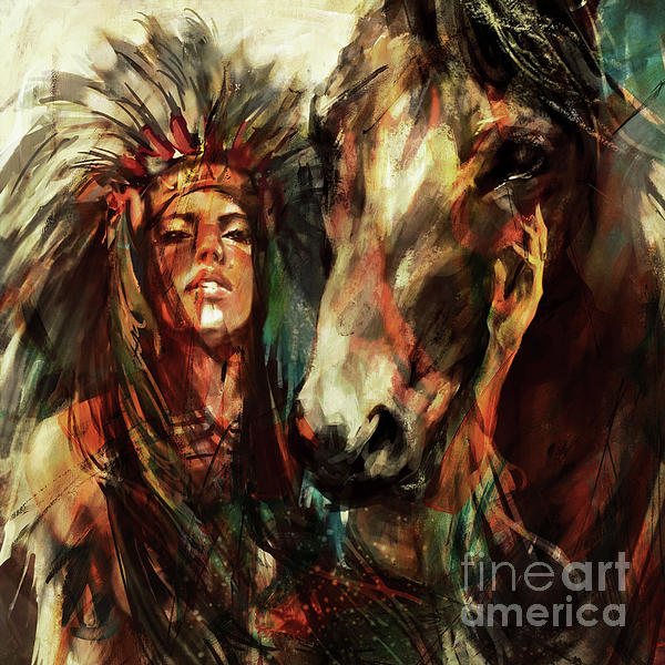 Female Native American Painting by Gull G