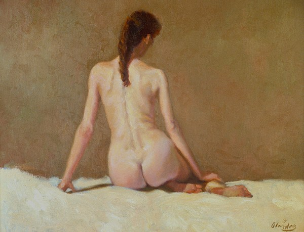 Female Nude   Back View      Painting by David Olander