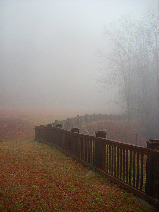 Fence Photograph - Fence And Fog by Beebe  Barksdale-Bruner