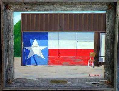 Texas Flag Painting - Fenoglio Station Texas Landmark - Sold by Larry G Lemons