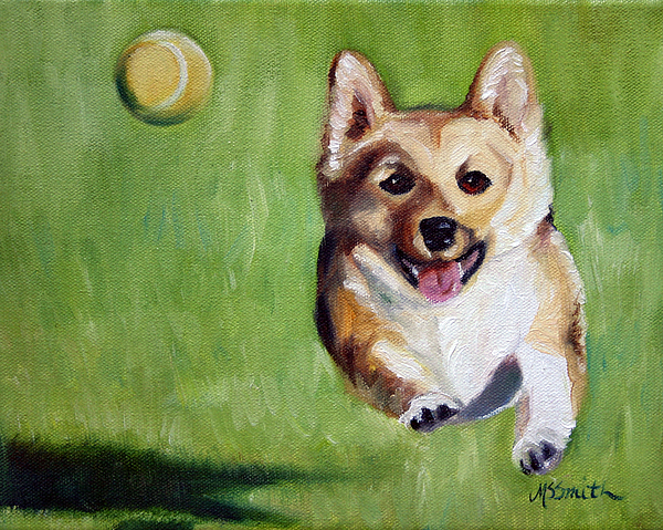 Corgi Painting - Fetch by Mary Sparrow