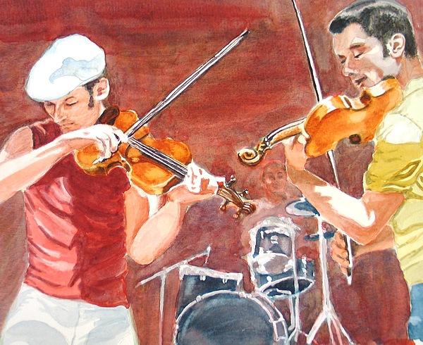 Musicians Painting - Fiddles by Karen Ilari