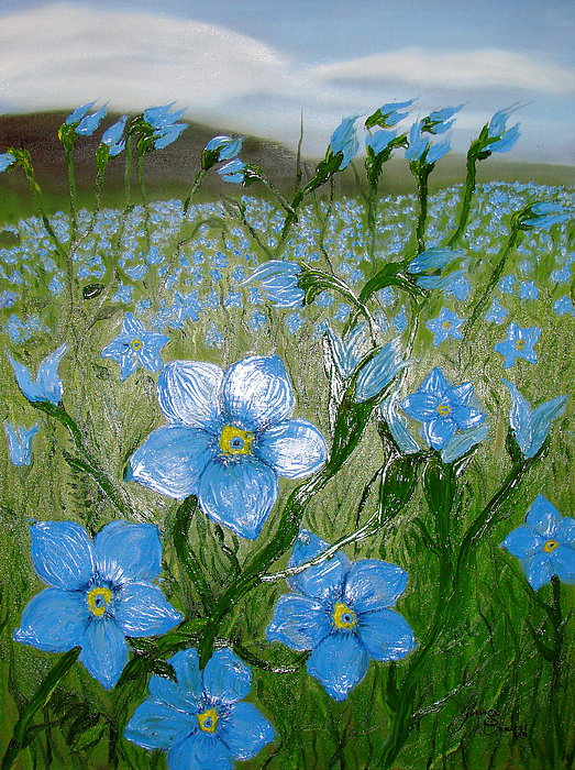 Field Of Blue Flax Flowers Painting by Portland Art Creations