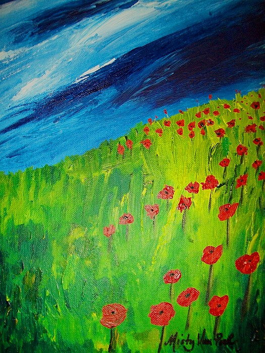 Flowers Painting - field of Poppies 2 by Misty VanPool