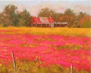 Texas Landscape Painting - Field Of Red by Michael Gillespie