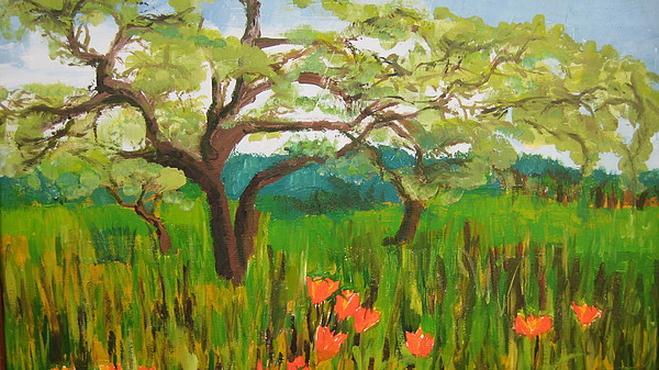 Landscape Painting - Field Of Red Poppies by Mabel Moyano