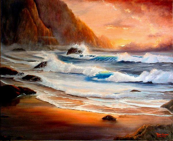 Seascape Painting - Fiery Coast by Jodi Brody