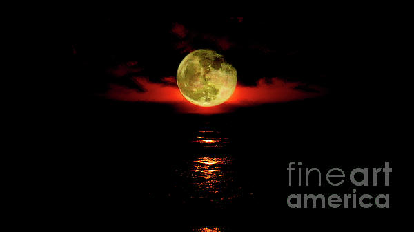 Red Photograph - Fiery Moon Rise by Eddie Lee