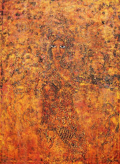 Female Figure Painting - Figure In Landscape by Ronex Ahimbisibwe