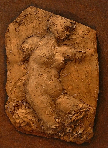 Clay Relief Sculpture - Figure Stretching by Sharon Dixon