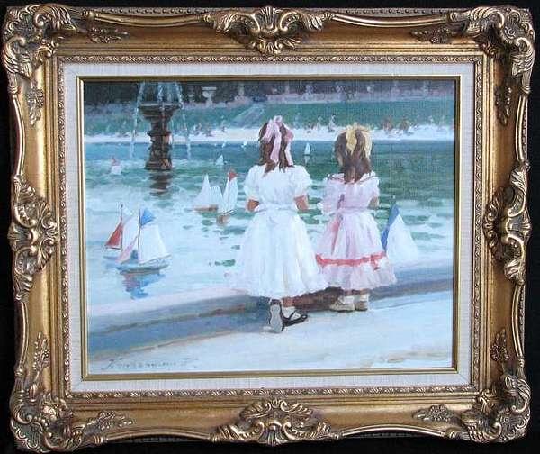 Fillettes Pres De La Fontaine Painting by Krassouline