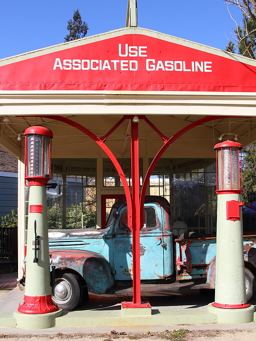 Transportation Photograph - Filling Up The Old Ford Jalopy At The Associated Gasoline Station . Nostalgia . 7d12884 by Wingsdomain Art and Photography