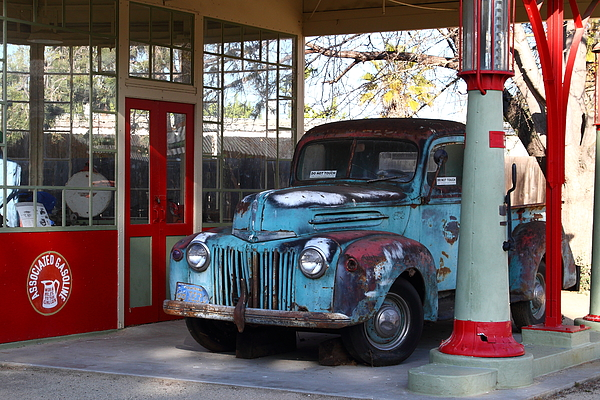 Transportation Photograph - Filling Up The Old Ford Jalopy At The Associated Gasoline Station . Nostalgia . 7d13021 by Wingsdomain Art and Photography