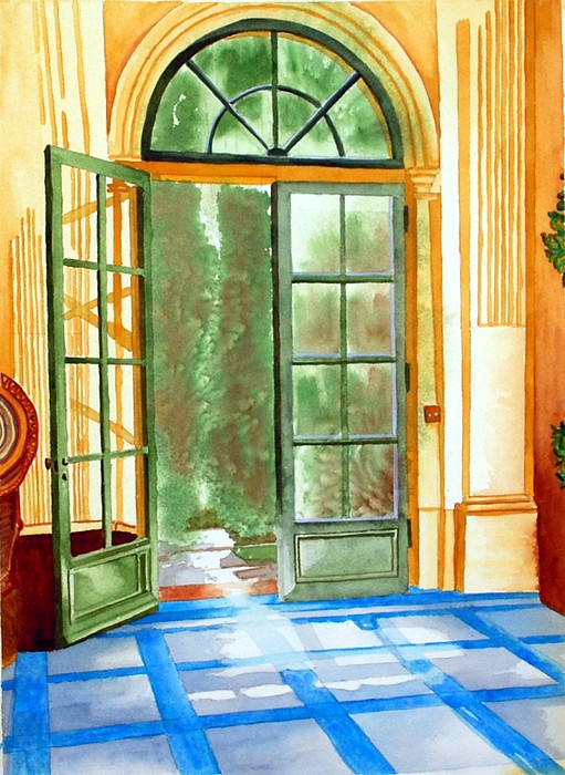 Watercolor Painting - Filoli Tea House by Gerald Carpenter