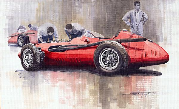 Watercolour Painting - Final Check Before The Start Maserati 250 F 1957 by Yuriy  Shevchuk