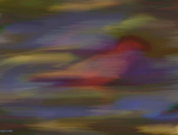 Abstract Digital Art - Find The Red Bird by June Pressly